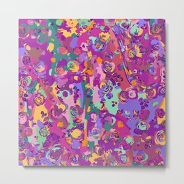Colorful Abstract with Roses Metal Print