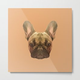 French bulldog puppy low poly. Metal Print