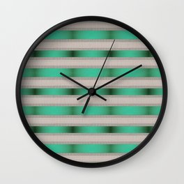 Green Ribbon With Cream Tile Stripes Wall Clock