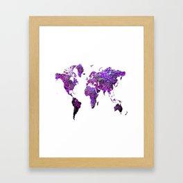 Purple World Map Framed Art Print