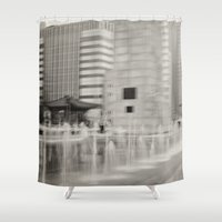 seoul Shower Curtains featuring Abstract Seoul by Zayda Barros