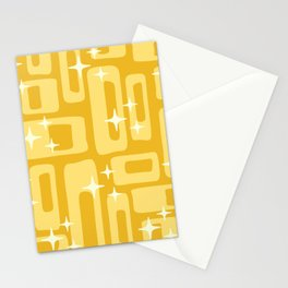 Retro Mid Century Modern Abstract Pattern 127 Yellow Stationery Cards