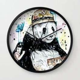 Panda love hugs painting Wall Clock