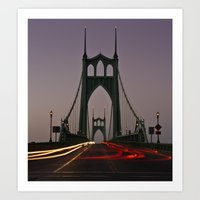 marc johns Art Prints featuring St. Johns Bridge III by Cameron Booth