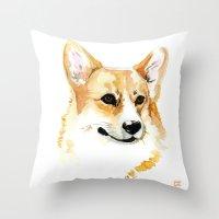 corgi Throw Pillows featuring Corgi by Elise Lesueur