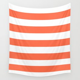 Outrageous Orange - solid color - white stripes pattern Wall Tapestry