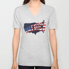4th Of July Independence Day American Flag & Map Unisex V-Neck
