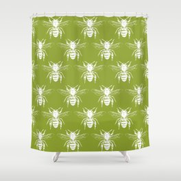 The Bee's Knees Green Shower Curtain