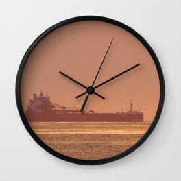 Ship under Copper Sunset Lightning Wall Clock