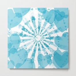 Pop art blue illustration on the background of hearts Metal Print