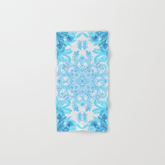 Symmetrical Pattern in Blue and Turquoise Hand & Bath Towel