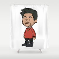 zayn Shower Curtains featuring Schulz Zayn by Ashley R. Guillory