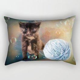 Playful cute black kitten Rectangular Pillow