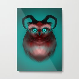 Red Neon Owl Metal Print