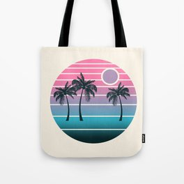 Dude! - retro 70s throwback minimal sunset beach tropical palm trees 1970's minimalism decor socal Tote Bag
