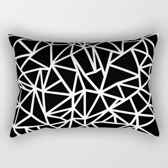 Abstract Outline Thick White on Black Rectangular Pillow
