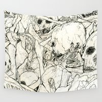 bones Wall Tapestries featuring Bones by Jess Worby