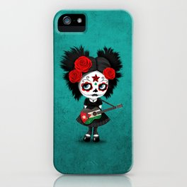 Day of the Dead Girl Playing Jordanian Flag Guitar iPhone Case