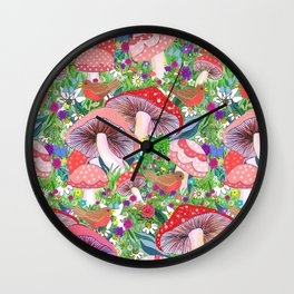 Swedish Toadstool Woodland Robins Floral Wall Clock