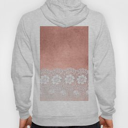White floral luxury lace on pink rosegold grunge backround Hoody