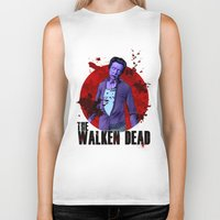 christopher walken Biker Tanks featuring The Walken Dead – The Walking Dead Parody – Christopher Walken Zombie by ptelling