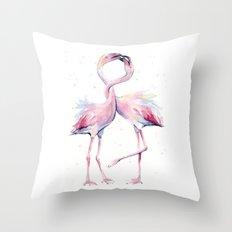 Two Flamingos Watercolor Flamingo Love Throw Pillow