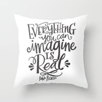 imagine Throw Pillows featuring IMAGINE by Matthew Taylor Wilson