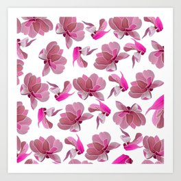 Elegant blush pink watercolor botanical floral Art Print