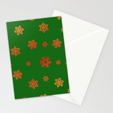 Snowflakes (Red & Gold on Green) Stationery Cards
