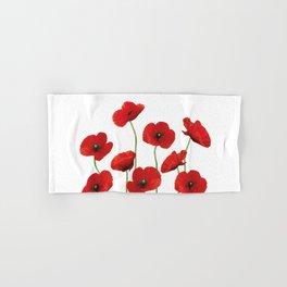 Poppies Field white background Hand & Bath Towel
