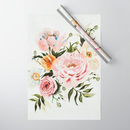 Loose Peonies & Poppies Floral Bouquet Wrapping Paper