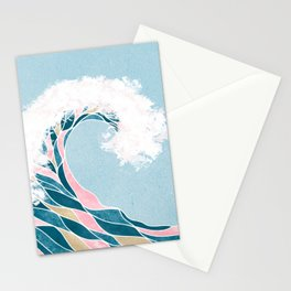 Surf X // Cali Beach Summer Surfing Rip Curl Gold Pink Aqua Abstract Ocean Wave Stationery Cards
