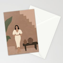 Woman in white Stationery Cards
