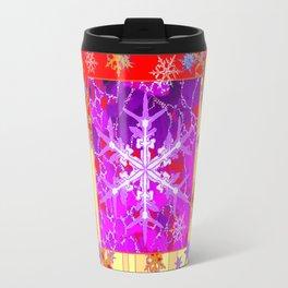 Festive fuchsia-Gold Red Decorative Winter Snowflakes Travel Mug