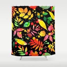 Multi Color Leaves Shower Curtain