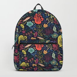 Navy Vintage Floral // Hand Drawn Funky Flowers, Bright & Cheery Backpack