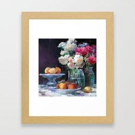 Still Life with White & Pink Roses Framed Art Print