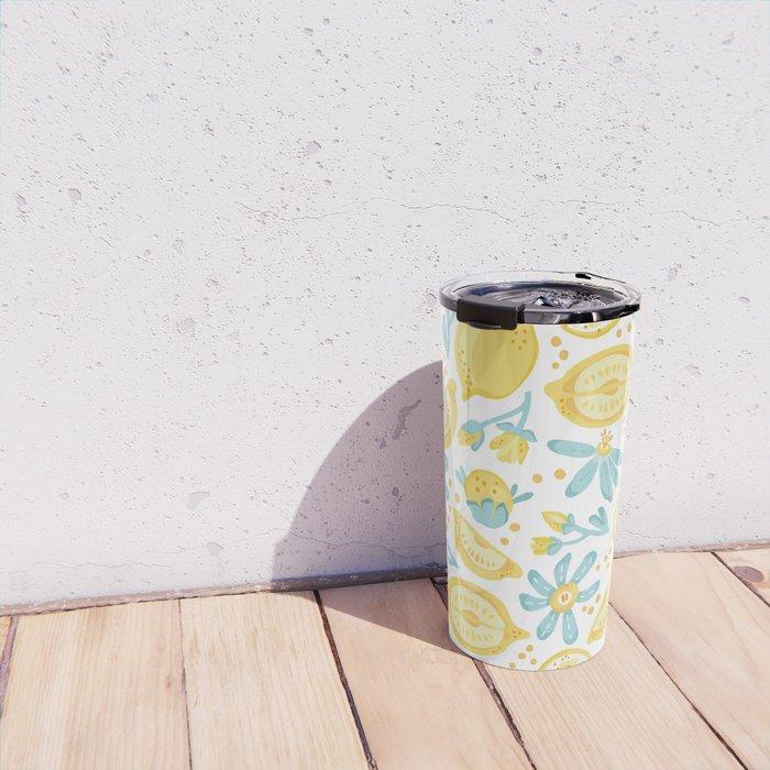 Lemon pattern White Travel Mug