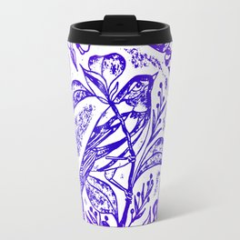 Songbird In Magnolia Wreath, Purple Linocut Travel Mug