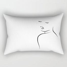 Minimal Lady Drawing - Kiss Me Cora Rectangular Pillow
