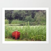 rowing Art Prints featuring Red Rowing Boat - iPhoneography by Paranoidfloyd