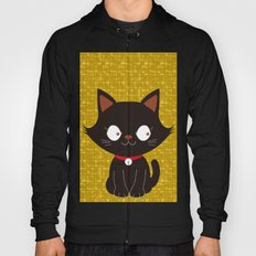 Black Cat on Gold-leaf Screen Hoody