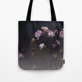 Delicate Dried Pink Mini Roses on Smoky Dark Grey Tote Bag