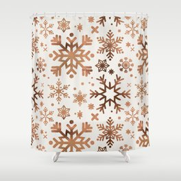 Snowflake Collection – Rose Gold Palette Shower Curtain