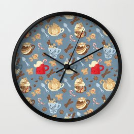 not so jolly kitty cup pattern (blue) Wall Clock