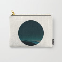 Mid Century Modern Round Circle Photo Graphic Design Minimal Night Sky With Mountain Silhouette Carry-All Pouch