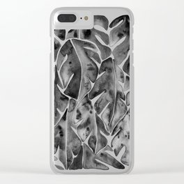 Split Leaf Philodendron - Black Clear iPhone Case