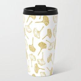 Ginkgo Biloba linocut pattern GLITTER GOLD Travel Mug