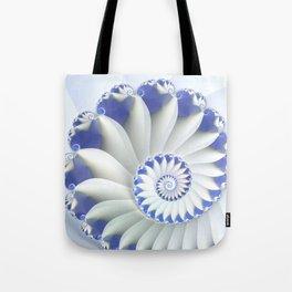 Blue Nautilus Abstract Fractal Art Tote Bag