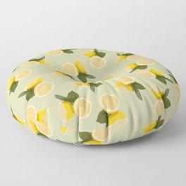 Yellow Citrus Lemon Fruit on Pale Lime Green Floor Pillow